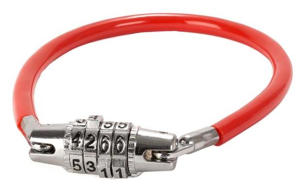 Kikkerland kabelslot mini 33 x 2 cm staal rood/zilver