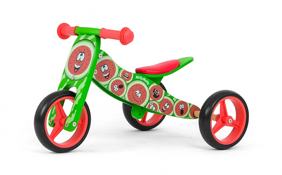 Milly Mally 2 in 1 loopfiets Jake Watermeloen Junior Groen-Rood