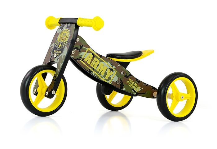 Milly Mally 2 in 1 loopfiets Jake Army Junior Legergroen-Geel