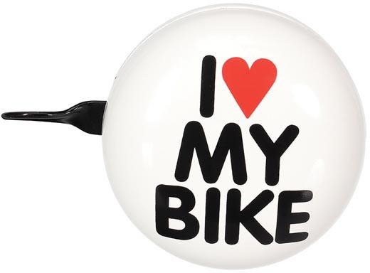 Perel fietsbel I love my bike 80 mm staal wit