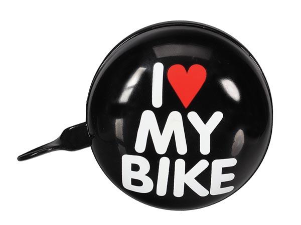 Perel fietsbel I Love My Bike 8 cm staal zwart