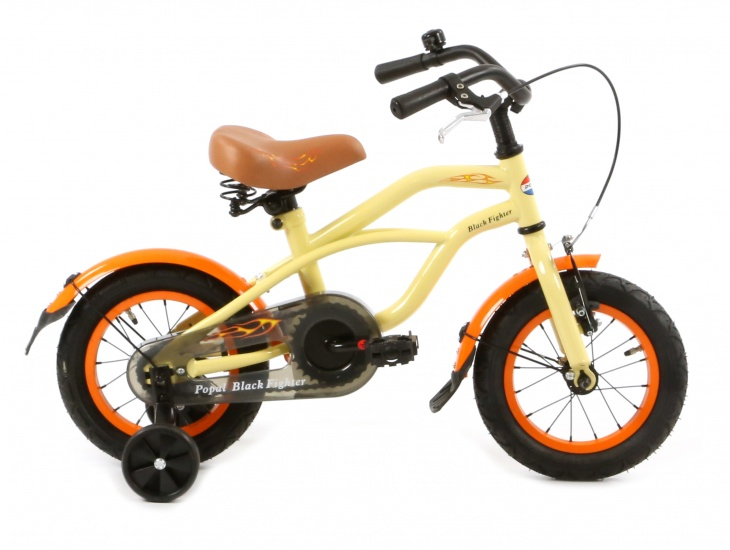 POPAL POPAL Kinderfiets Black Fighter Cruiser 12 inch creme