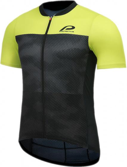 Protective fietsshirt P Transform heren polyester zwart/lime mt M