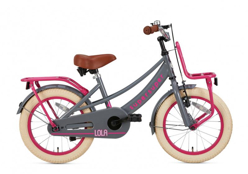 Supersuper Lola 16 Inch 25,4 Cm Meisjes Terugtraprem Roze/grijs online kopen