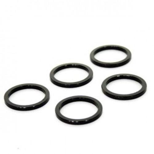 TOM spacers 1 1/8 inch 3 mm aluminium zwart 5 stuks
