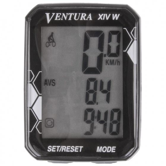 Ventura fietscomputer XIV W draadloos zwart 14 functies