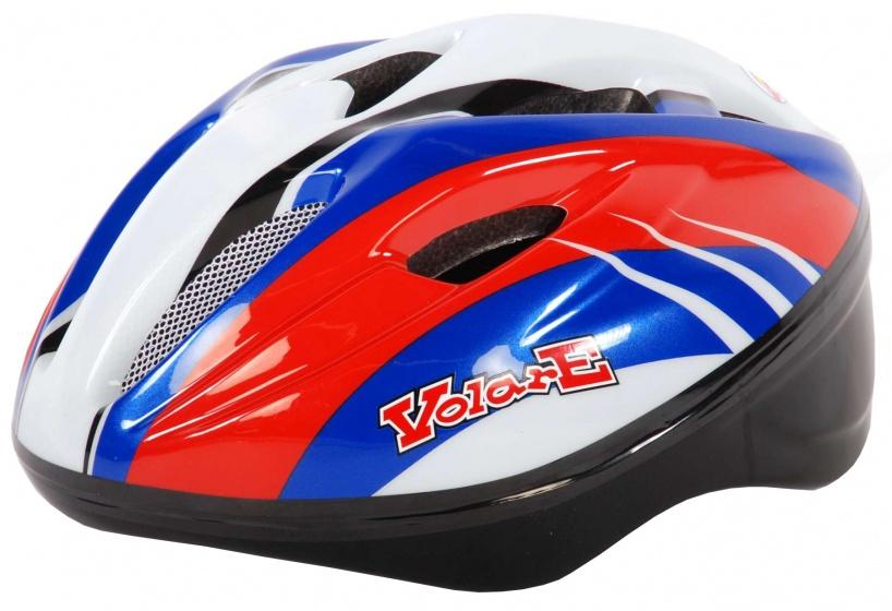 Volare fietshelm Deluxe junior rood/wit/blauw maat 51/55 cm