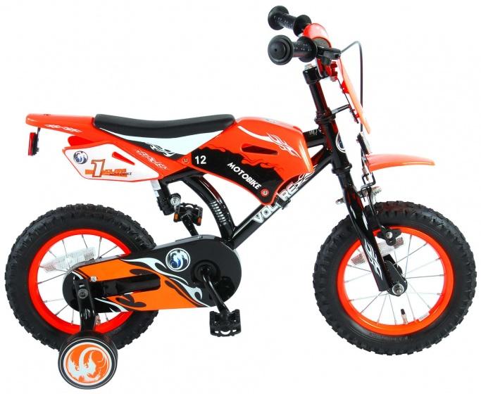 Volare Motorbike 12 Inch 21,5 cm Jongens Terugtraprem Zwart/Oranje