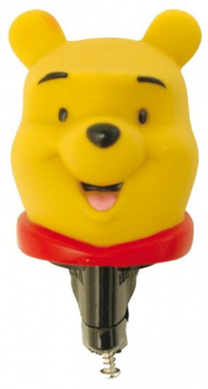 Widek fietstoeter Winnie The Pooh 7,3 cm rubber geel/rood/zwart